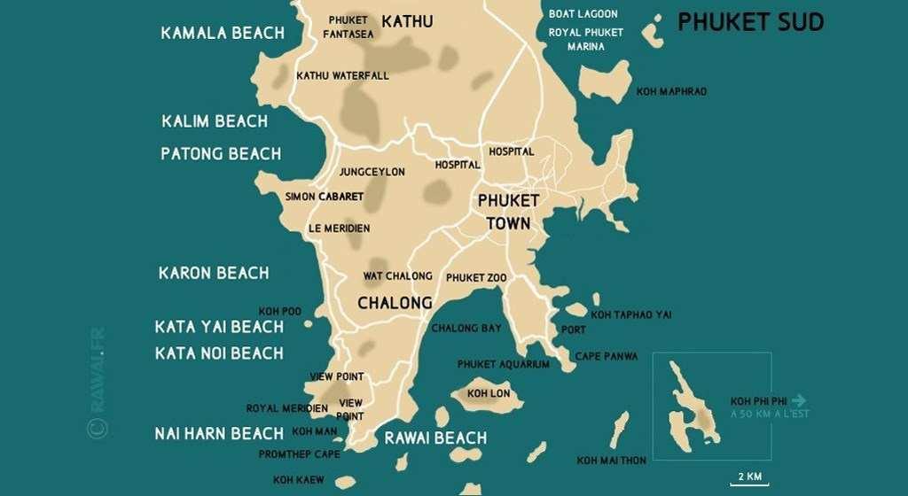 Carte Des Distances Entre Le Ville Phuket